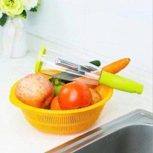 Melón cáscara de grano Peeler Scrapping Multifunción Almacenamiento Raspe el cuchillo de pelado con cilindro Apple-Peeler Cuchillo de pelado de hogar HHC6737