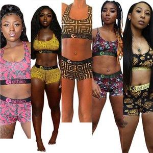 Mujeres 2 piezas Ethika Set para mujer Diseñador de chándalsuits chaleco + pantalones trajes de verano Sudadera de moda Slim transpirable aptitud traje de baño T0188