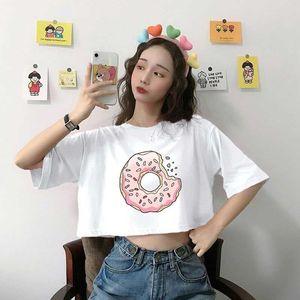 Women's T-Shirt Cute Donuts Pattern Printing Women Crop Top Summer Casual Loose Japanese Korean All-Match Fashion Harajuku Style Female Tees