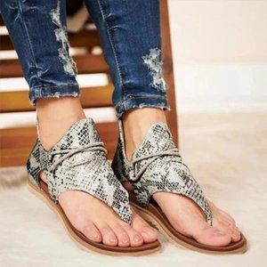 Senhoras femininas Sapatos Casuais Mulher Posh Vintage Leopardo Flip Flop Sandálias Comfy Zipper Sandalias de Verano Mujer 2021