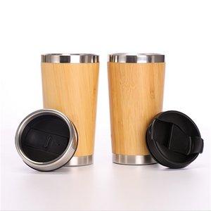 Бамбуковые вакуумные чашки Tumblers 304 из нержавеющей стали Внутренняя водные бутылки Автомобильные путешествия Бамбуковые кружки Re повторные кофейные чашки 1748 V2