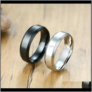 Classic Matte Black Silver Color Stainless Steel Ring For Men Women 6Mm Width Promise Wedding Jewelry Gifts Ibmbu Band Rings Op3Vn