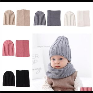 Hats Aessories Baby, & Maternity Drop Delivery 2021 Children Scarf Set 2Pcs Set Fashion Baby Outdoor Travel Hat Winter Warm Knitted Beanies C