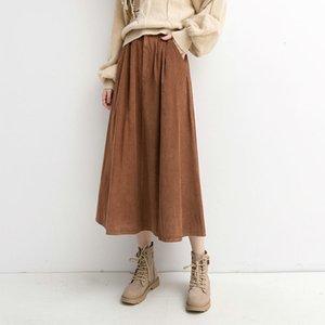 Юбки весна сплошные старинные женщины элегантные длинные высокие талии MIDI юбки женские офисные леди повседневная уличная юбка Zoti