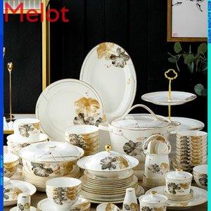 Bone di alta qualità China piatti da tavola per la casa moderna glassa moderna colore semplice ceramica ceramica ceramica creativa ciotole di porcellana