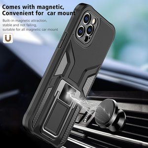 Premium Bracket Work With Magnetic Car Holder Cell Phone Cases for iPhone 12 11 Pro Max XR XS 8 7 Samsung S21 S20 Note20 Plus Ultra Shock-Absorbing Corners Cover