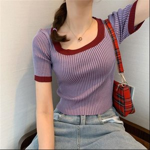 Women Womens Sweater O neck Short Sleeve Cropped Shirts Tops Girls Knit Elastic Contrast Color Sheath Tee Crop Top Pullover