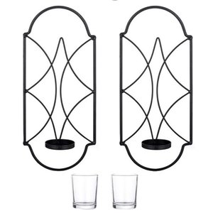 Metal Wall Sconce Candle Holder Decor Mounted Sconces Holders With Glass For Fireplace Yard Pathway Black