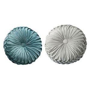 2 Pcs Round Floor Luxury Velvet Pumpkin Pleated Cushion Pouf Cover Throw Pillow Home Sofa Mat,Light Blue & Light Gray