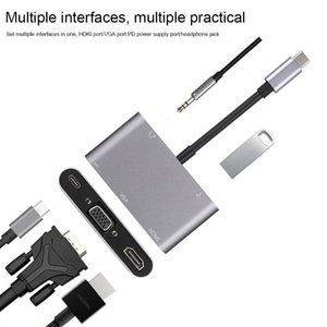 허브 5 in 1 USB C 허브 휴대용 알루미늄 합금 변환기 유형 3.1 확장기 충전 플러그 앤 플레이 홈 오피스 어댑터