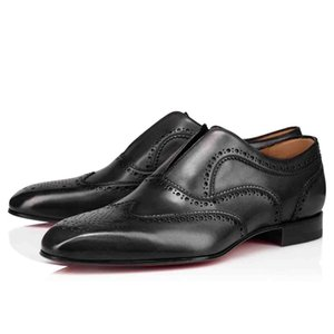 LOUBOUTIN CHRISTIAN Black Leather Flat Dress Party Shoes,Red Bottom Oxfords Shoes Platerboy Flat Paris Men's Loafers Classic PERFORATION yju