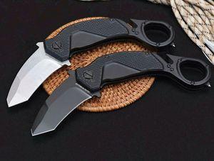 On Sale! Flipper Folding Claw Knife N690 Black Titanium Coated   White Stone Wash Blade Aluminum Handle Karambit Knives
