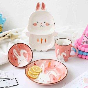 1 unid animal zoológico cena placa conejo cuenco taza vajilla cerámica porcelana bebé niños vajilla oso alimentación plato T200107