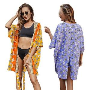 Women Summer Swimsuit Cover Girls Leopard Floral Print Lace-Up Half Sleeves Sun-Proof Smock Beachwear Mini Dress Saida De Praia Women's Swim