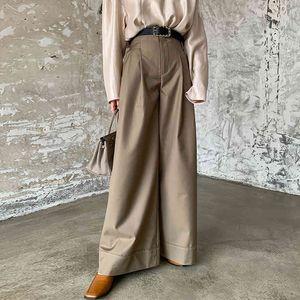 Vintage women wide leg pants high waist spring summer new office lady khaki grey long pants femme trousers