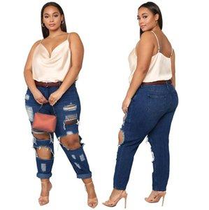 2021 Herbst Damen Nachtclub Solid Ripping Jeans Lady's Plus Size Hohe Taille Aushöhlen Quasten Bleistift Denim Pants Est Frauen Sexy
