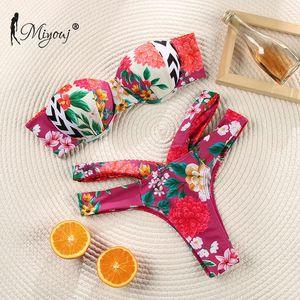 Miyouj Roffle Off Spalla Floral Swimsuit Costume da bagno Bandage Bow Swimwear Push Up Biquini Femminino Costume da bagno Donne Bikini Set