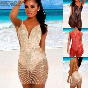 Women Summer Sequins Mesh Bikini Cover Up Tops Swimwear Bathing Suit Beach Dress Women's