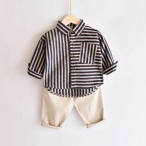 Shirts Children Cotton Boys Kids Clothing Spring Autumn Long Sleeve Fashion Striped Leopard Tops 2-6Y B4412