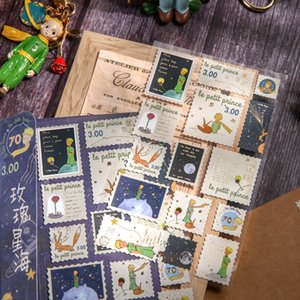 Washi Sticker Set Vintage Stationery Sticker Postmark Stamp Little Prince Mushroom Diy Decorative Label For Scrapbooking Album