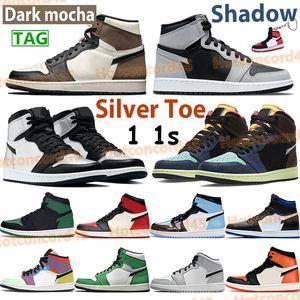Yüksek 1 1 S OG Işık Duman Gri Büküm Basketbol Ayakkabı Bred Kraliyet Gümüş Toe Koyu Mocha UNC Patent Gölge Şanslı Yeşil Chicago Orta Erkekler Sneakers