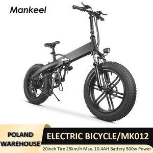 Stecker Elektrische Fahrrad Roller Polen Lagern 500 Watt Power Faltbar E-Bike 25km / h Max Geschwindigkeit Erwachsene Mountainbikes 2-7 Tage Lieferung MK012