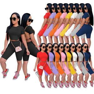 Summer Women Backless Tracksuits Night club suit Short Sleeve Sweatsuits 2 piece Sets Crop Top+Shorts Yoga Outfits Jogger Suits Casual Sportswear Solid color 4701