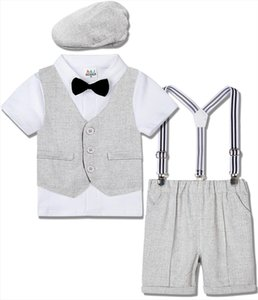 Baby Gentleman Suit Boys Wedding Outfit Toddler Birthday Party Tuxedo Infant Baptism Clothing Set Bow Tie Suspender Overall