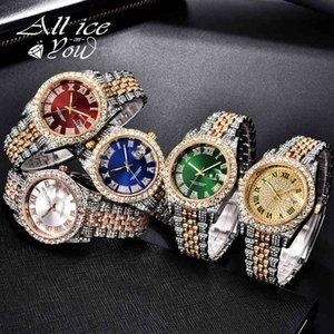 Дизайнерские часы Марка Часы Роскошные Часы Кубический цирконий Хип-хоп Мода Высокое Качество Алмазный Браслет Из Нержавеющей Сталь Для подарка
