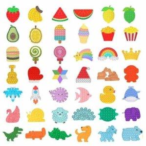 DHL Rainbow Push It Fidget Toy Sensory Push Bubble Fidget Sensory Autism Special Needs Anxiety Stress Reliever Office Fluorescen