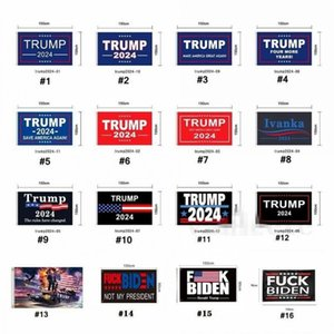 DHL SHIPPING 16 تصاميم 3X5 قدم 90 * 150 سم إبقاء أمريكا Great Donald Trump Flag for 2024 الرئيس USA