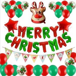 52Pcs Christmas Balloons Set Merry Christmas Banner Balloons Set Merry Christms Party Decor Xmas Garland Pendant Happy New Year