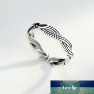 Whole Sale Weaving Knitting Vintage Adjustable Rings For Women Ladies Gifts Tibetan Sliver Wave Open Brincos anello KJZ0418