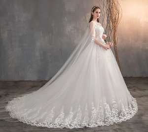 2021 Chinese Wedding Dress With Long Cap Lace Women Train Embroidery Princess Plus Szie Bridal Dresses