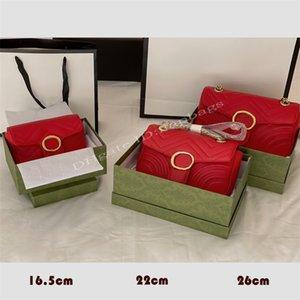 Senhora Designers de Luxo Sacos 2021 Detalhes da Forma de Coração Dense Thread de Costura Onda Quilting Bronze Double Letter Botão Clássico Marmont Cross Body