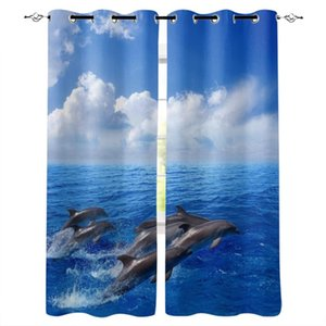 Curtain & Drapes Dolphin The Sea Blue Sky Windows Curtains For Living Room Child Bedroom Window Treatment Blinds Kitchen