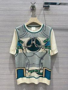 Milan Runway Sweater 2021 Short Sleeves O Neck High End Jacquard Pullovers Women Designer T-Shirts 0325-1