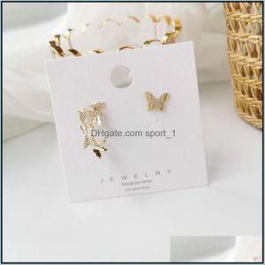 Jewelrydesign Fashion Jewellery Zircon Butterfly Asymmetric Earrings For Woman Sweet Girl Shiny Elegant Earring Female Stud Drop Delivery 20