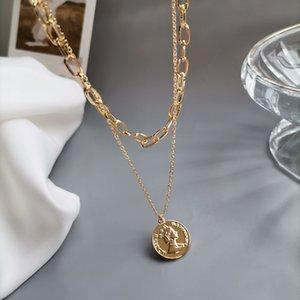 Double Layered Gold Head Halskette, cooler Stil, einfaches Temperament, Clavicle Net, roter Anhänger, Hip-Hop-Kette