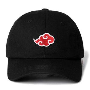 Novo 100% algodão boné japonês akatsuki logotipo anime naruto pai chapéu uchiha família logotipo bordado bordado bonés preto snapback chapéu