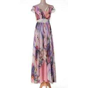 Quality New Spring Summer Femme Femme Flower Print Long Maxi Femmes Haute Taille Longueur Durée de mousseline Slim Vestido Y200805