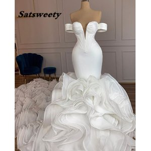 2022 Off The Shoulder Mermaid Wedding Dress Court Ruffles Train vestidos de novia Beaded Bridal Dresses Plus Size