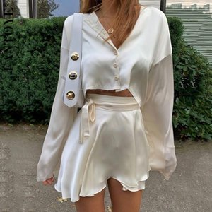 Fantoye Casual Satin Two Piece Dress Set For Women White O-neck Button Top Bandage Mini Pencil Skirts Outfits Fashion Party SuitDTP8