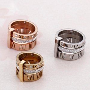 2021 Rhinestone Rings For band Women Stainless Steel Rose Gold Roman Numerals Finger Femme Wedding Engagement Jewelry