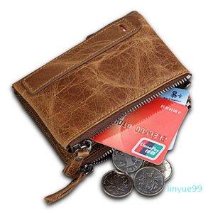 Men Wallet With Coin Pocket Wallet Holder RFID Mens Zipper Vintage Coin Purse Wallets CardHolder Money Bag 5 Colours