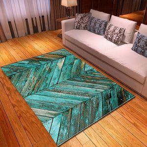 Carpets Modern 3D Wood Grain Rug Bedroom Kids Room Play Mat Carpet Flannel Memory Foam Area Rugs Large For Living