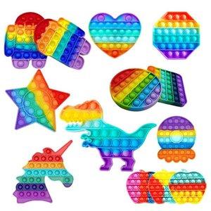 Push Pop it Fidget Toy Rainbow Bubble Sensory Autism Special Needs Stress Reliever It Squeeze Sensory Toy for Kids Family