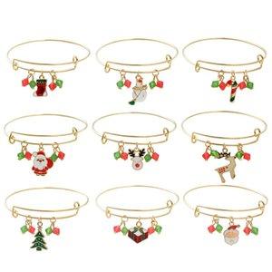 Bracelet de Noël Charmeurs pour Femmes Girls Thanksgiving Holiday Bell Santa Santa Ajustable Extensible Crystal Bracelet Bijoux