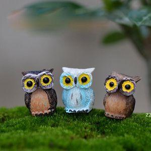 Cute Owl Miniatures Mini Resin Decoration Fairy Garden Decorations Accessory Moss Terrarium Creative Green Plant Gift Micro HWD10308
