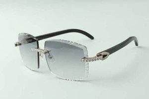 2021 designers endless diamonds sunglasses 3524022, cutting lens natural black buffalo horn glasses, size: 58-18-140mm